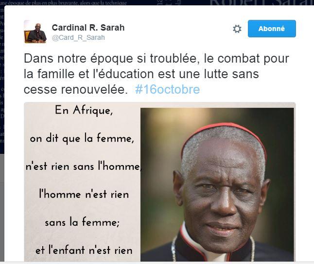 Le cardinal Sarah rappelle la beauté de la famille sur Tweeter