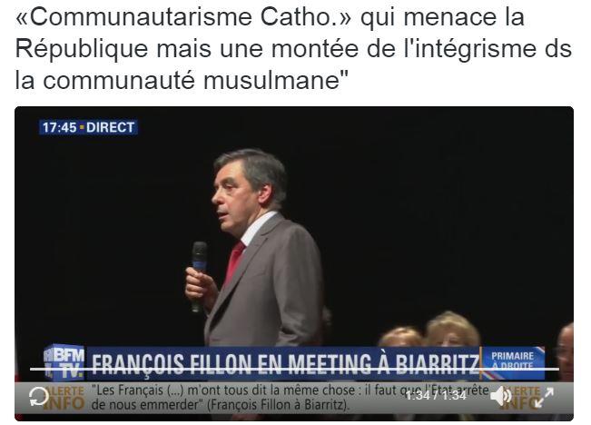 Pour François Fillon, il n'y a pas de communautarisme catholique qui menace la république.