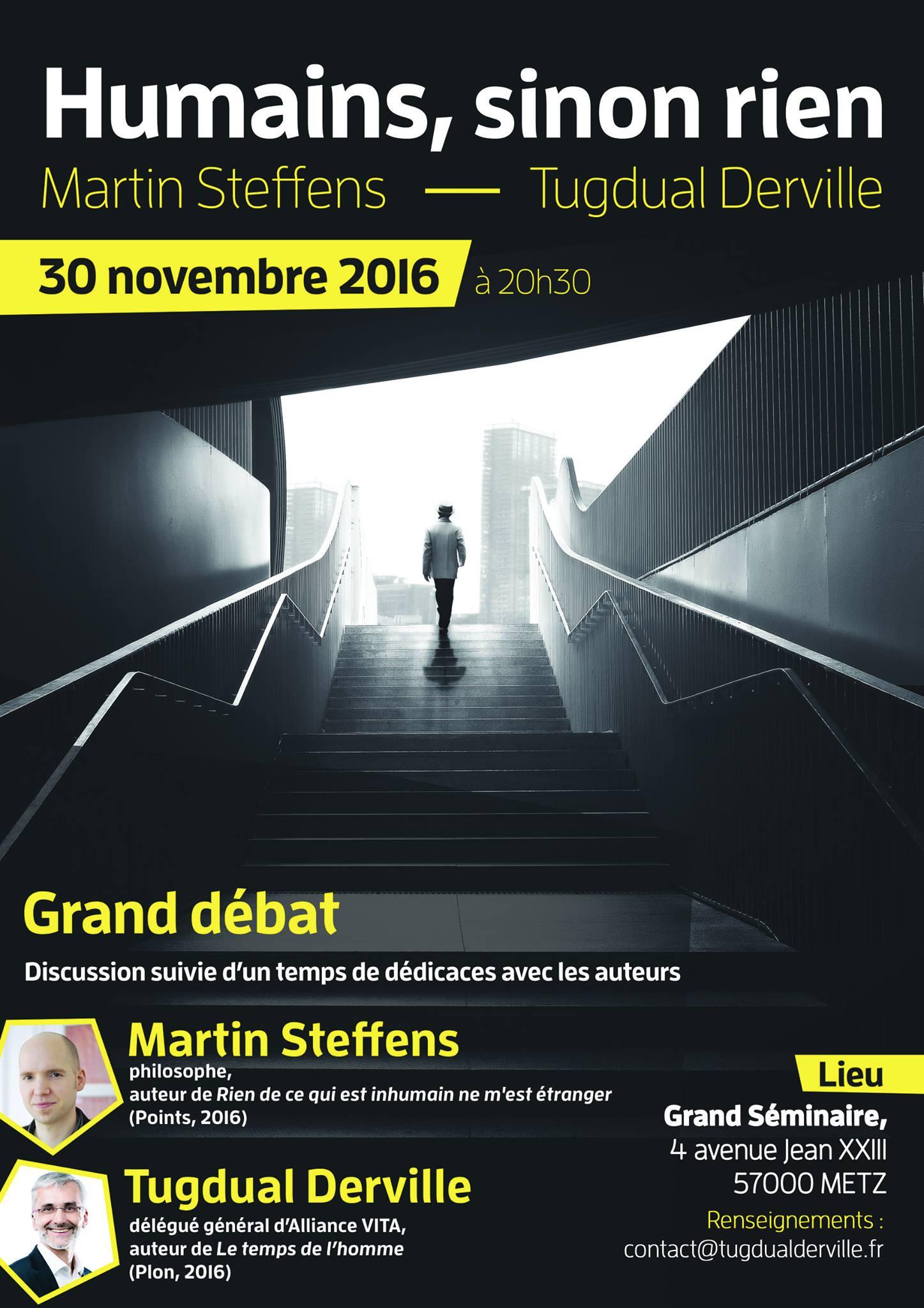 Metz – Tugdual Derville en débat avec Martin Steffens le 30 novembre