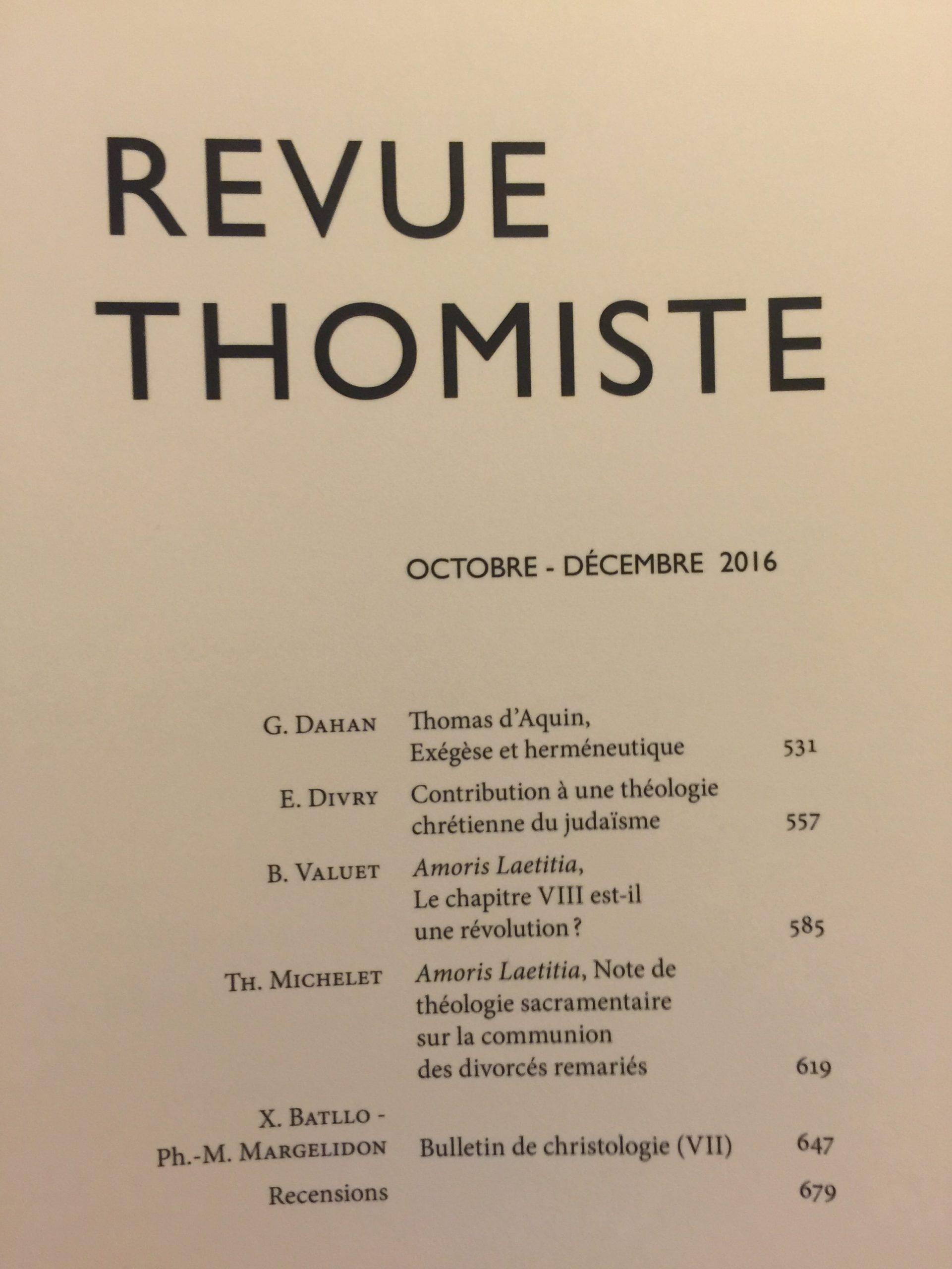 Parution dans la Revue thomiste de deux articles sur Amoris Laetitia