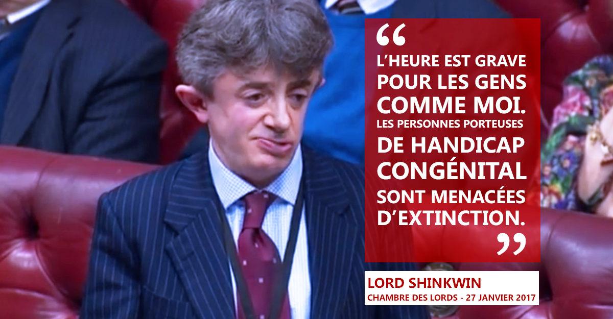 Né handicapé, Lord Shinkwin, défend la vie à la chambre des Lords.