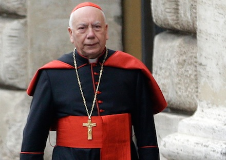 Cardinal Francesco Coccopalmerio arrives for a cardinals' meeting, at the Vatican, Tuesday, March 5, 2013. (AP Photo/Andrew Medichini)