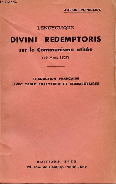Pie XI – Divini Redemptoris – Le communisme athée