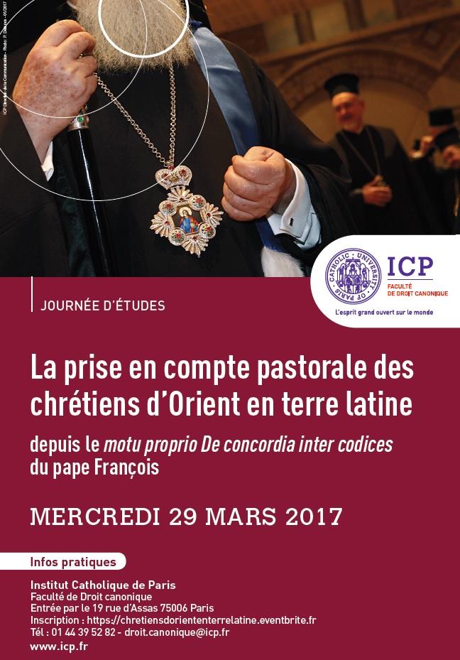 Journée d'études à l'ICP «La prise en compte pastorale des chrétiens d'Orient en terre latine»