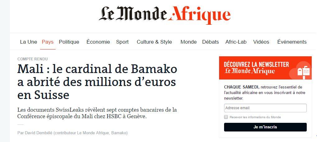 Le Monde accuse les évêques maliens d'argent détourné en Suisse