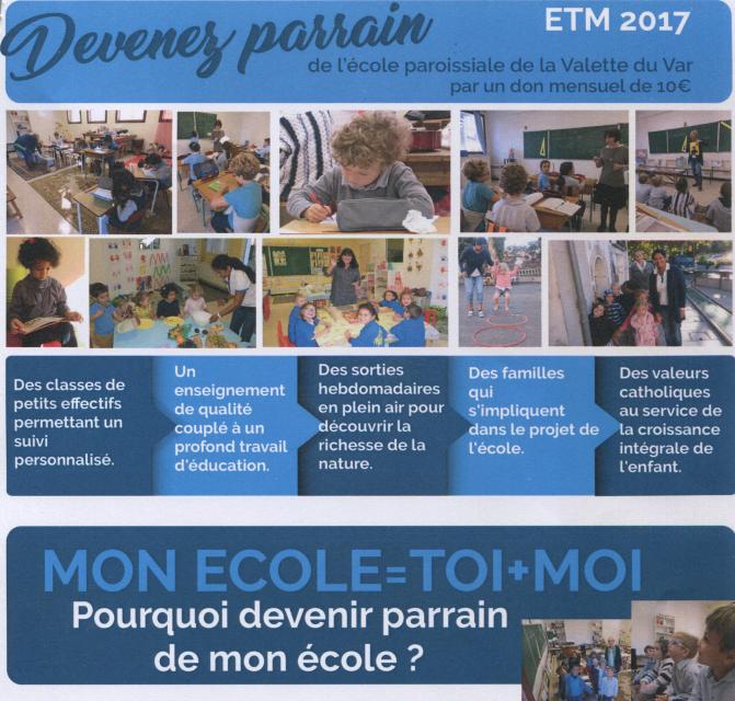 Devenez parrain de l'école paroissiale de La Valette du Var – Alliance Plantatio