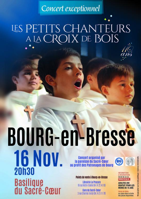 Concert des Petits chanteurs à la croix de bois le 16 novembre à Bourg-en-Bresse (01)
