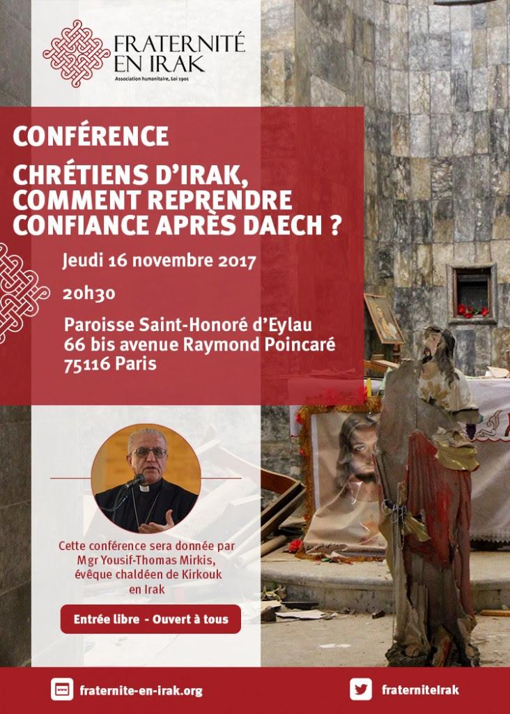 """Paris, 16 novembre: """"Chrétiens d'Irak: comment reprendre confiance après Daech?"""" témoignage de Mgr Joseph Thomas Mirkis"""