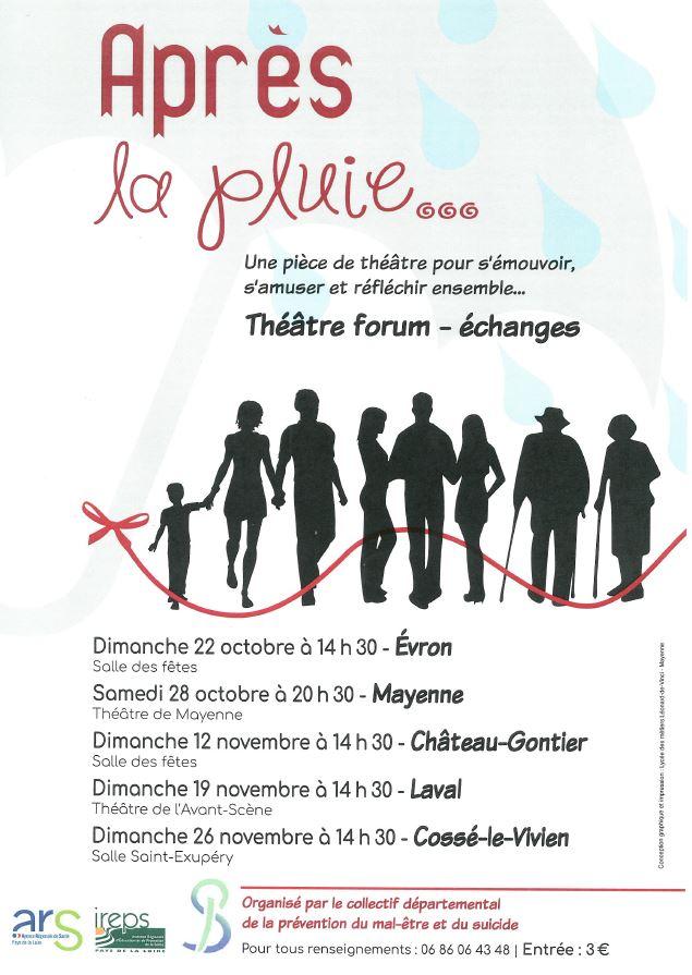 """""""Après la pluie…"""", une pièce de théâtre pour parler du mal-être – diocèse de Laval (53) – 12-19-26 novembre"""