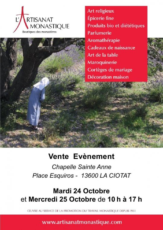 Vente de l'Artisanat Monastique à La Ciotat les 24 et 25 octobre