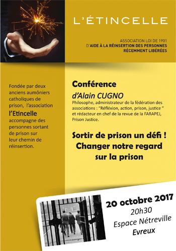 Sortir de prison: un défi! Changer notre regard sur la prison – conférence à Evreux le 20 octobre