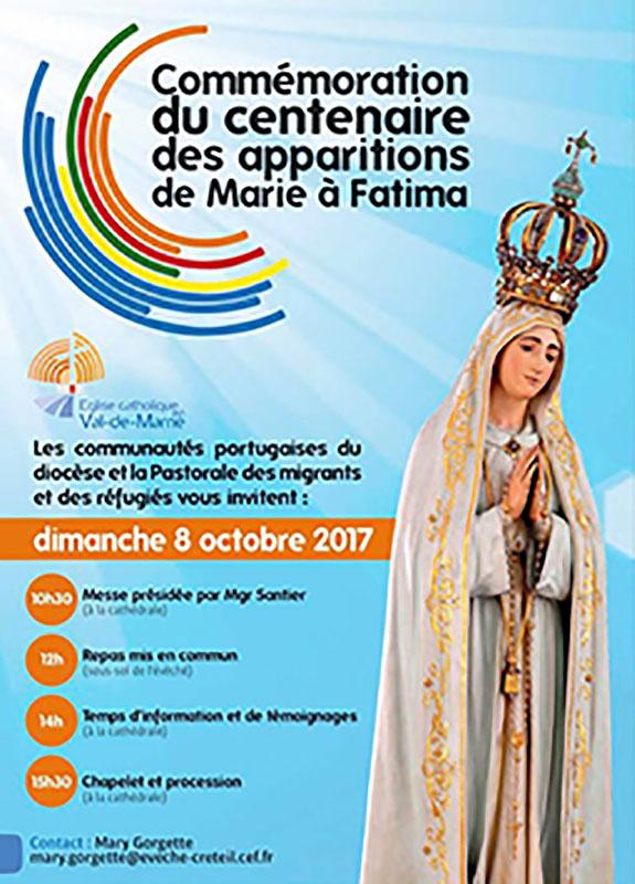 Commémoration du centenaire des apparitions de Marie à Fatima à Créteil le 8 octobre