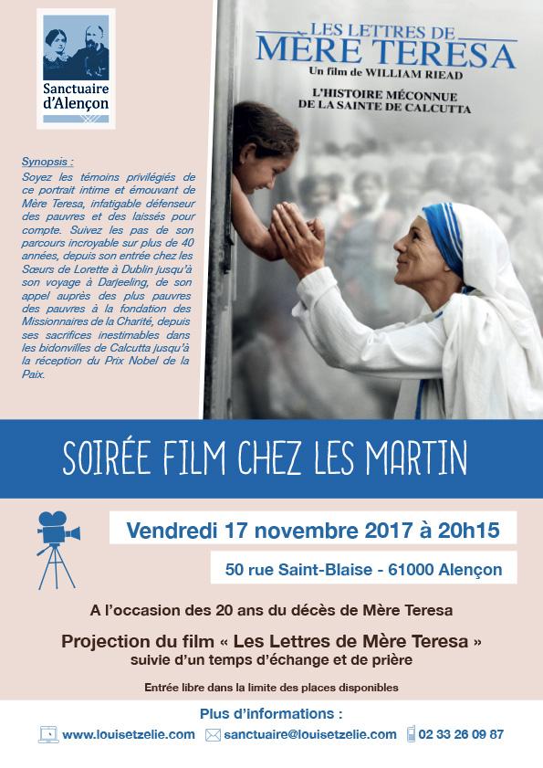 """Soirée film chez les Martin: """"Les Lettres de Mère Teresa"""" le 17 novembre"""