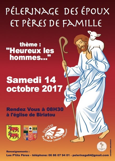 Pèlerinage des époux et pères de famille du diocèse de Bayonne le 14 octobre