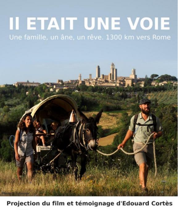 """AFC Tours (37) – soirée cinéma """"Il était une VOIE… une famille, un âne, un rêve: 1300 km vers Rome"""" le 24 novembre"""