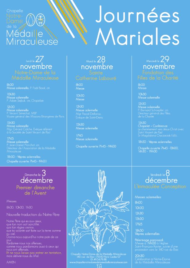 Journées Mariales à la Rue du Bac (75) du 27 au 29 novembre