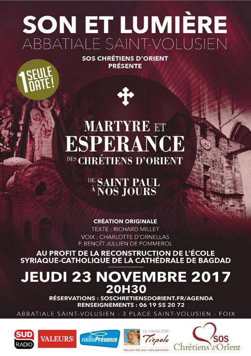 Spectacle son et lumière au profit des Chrétiens d'Orient à Foix (09) le 23 novembre