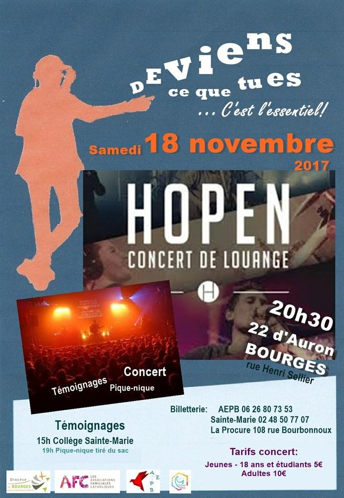 """""""Deviens ce que tu es"""" et Concert d'HOPEN à Bourges (18) le 18 novembre – AFC"""