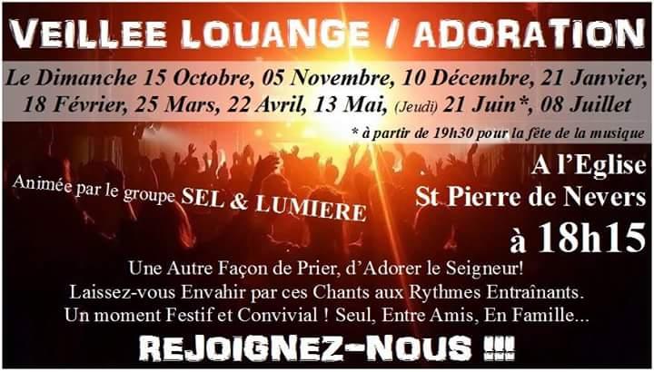 Veillée Louange/Adoration animée par les Jeunes Nivernais: 5 novembre à Nevers (58)