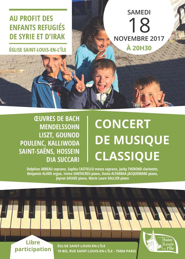 Concert en faveur des enfants réfugiés de Syrie et d'Irak le 18 novembre à Saint-Louis-en-L'île (75)