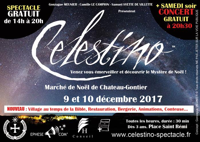 """Spectacle de Noël """"Celestino"""" à Château-Gontier (53) les 9 et 10 décembre"""