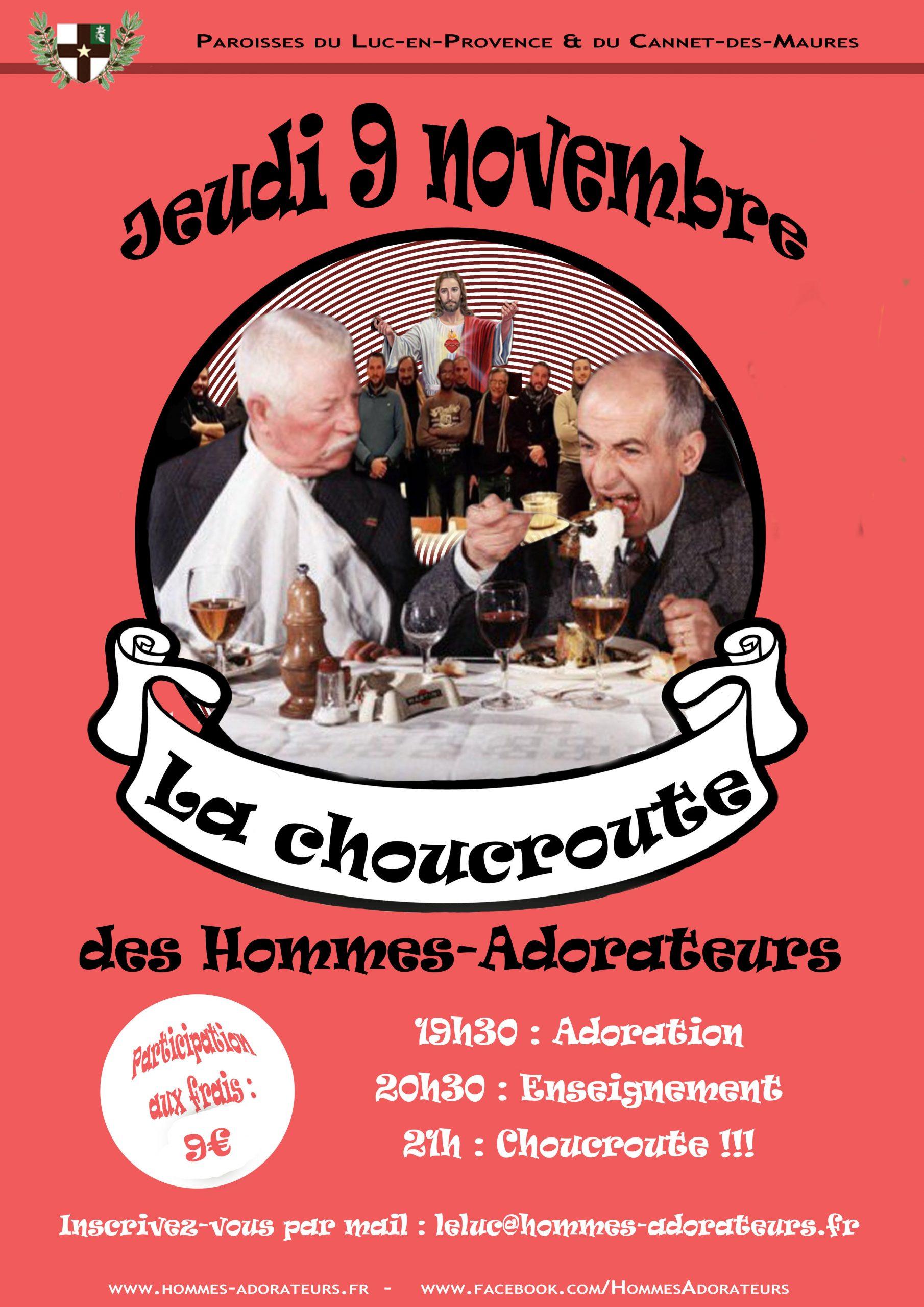 Choucroute des Hommes Adorateurs le 9 novembre au Luc-en-Provence (83)