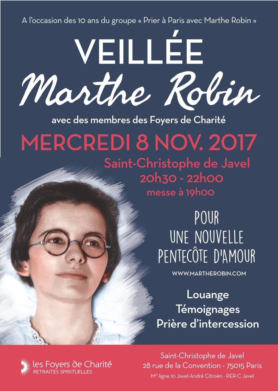 Veillée Marthe Robin avec des membres des Foyers de Charité le 8 novembre à Paris
