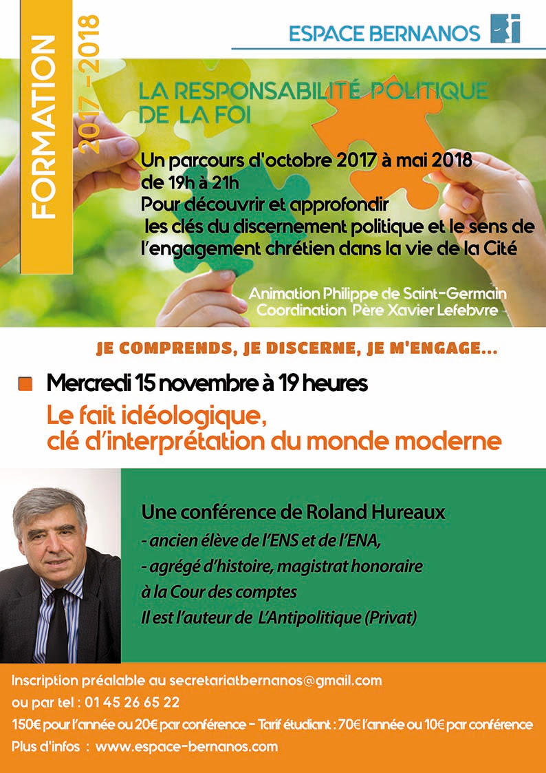"""Parcours """"Responsabilité politique de la foi"""" à Paris du 15 novembre 2017 au 16 mai 2018"""