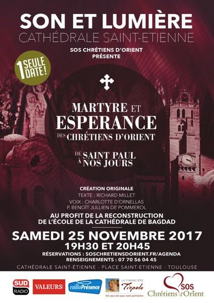 Spectacle son et lumière au profit des Chrétiens d'Orient à Toulouse (31) le 25 novembre