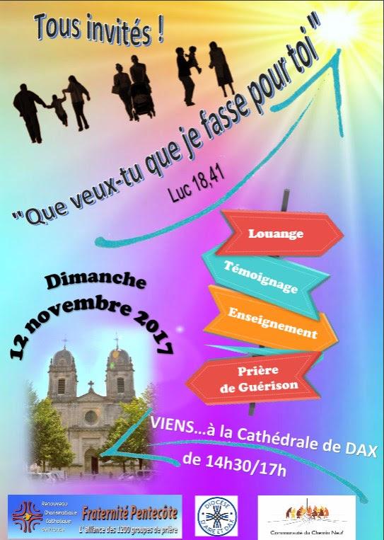 Rencontre de groupes du Renouveau charismatique à Dax (40) le 12 novembre