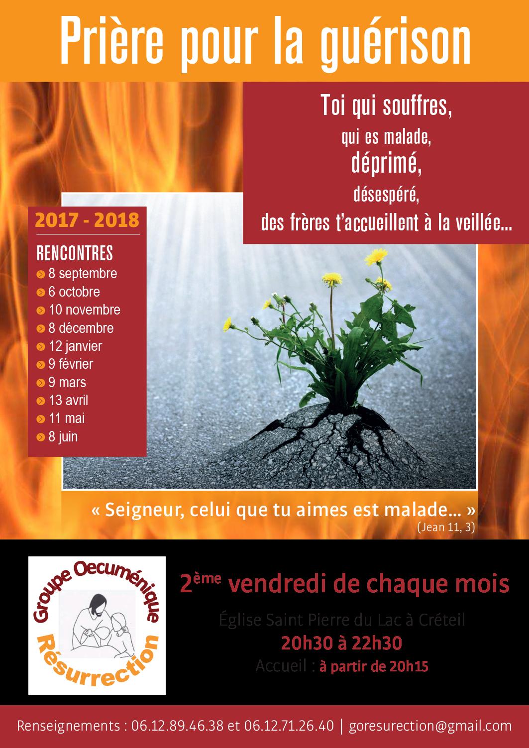 Prière pour la guérison le 2ème vendredi de chaque mois à Créteil (94)