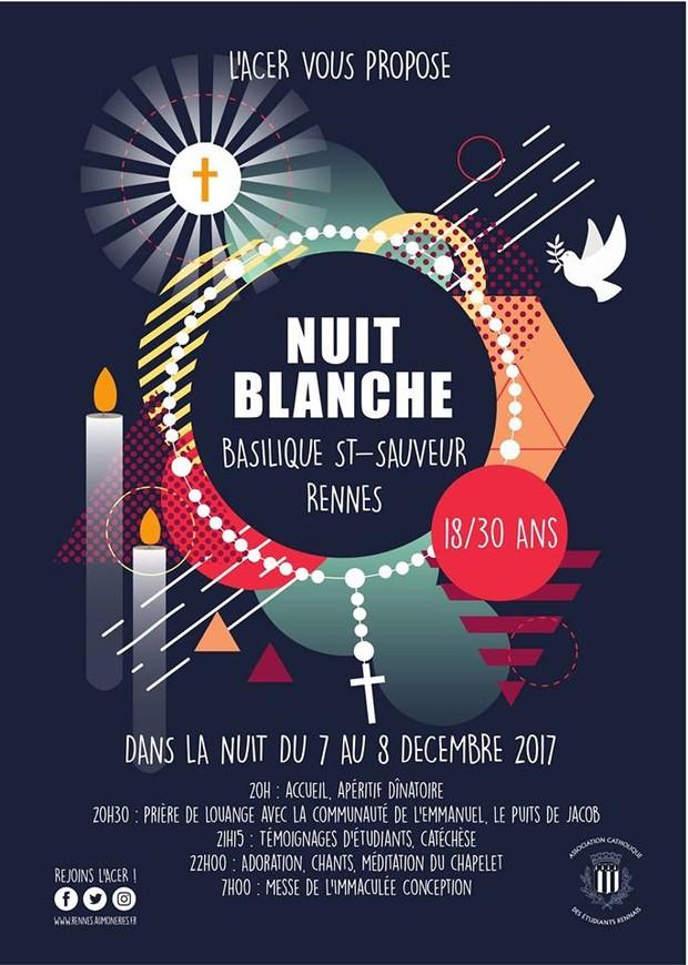 Nuit Blanche pour l'Immaculée Conception du 7 au 8 décembre à Rennes (35)