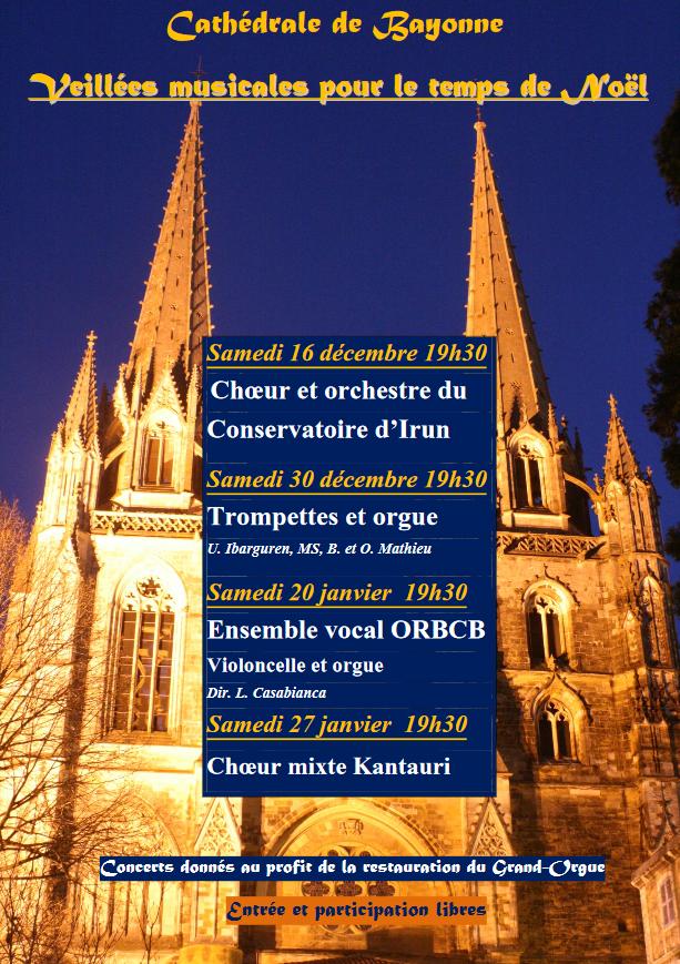 Veillées musicales pour le temps de Noël à Bayonne (64) les 16 et 30 décembre