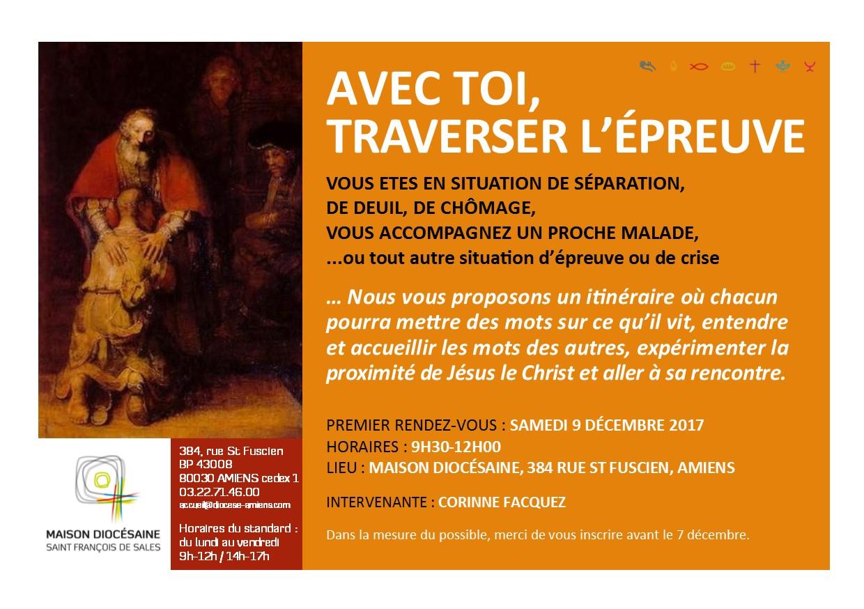 """""""Avec toi traverser l'épreuve"""" – itinéraire pour les personnes en souffrance ou accompagnants, le 9 décembre à Amiens (80)"""