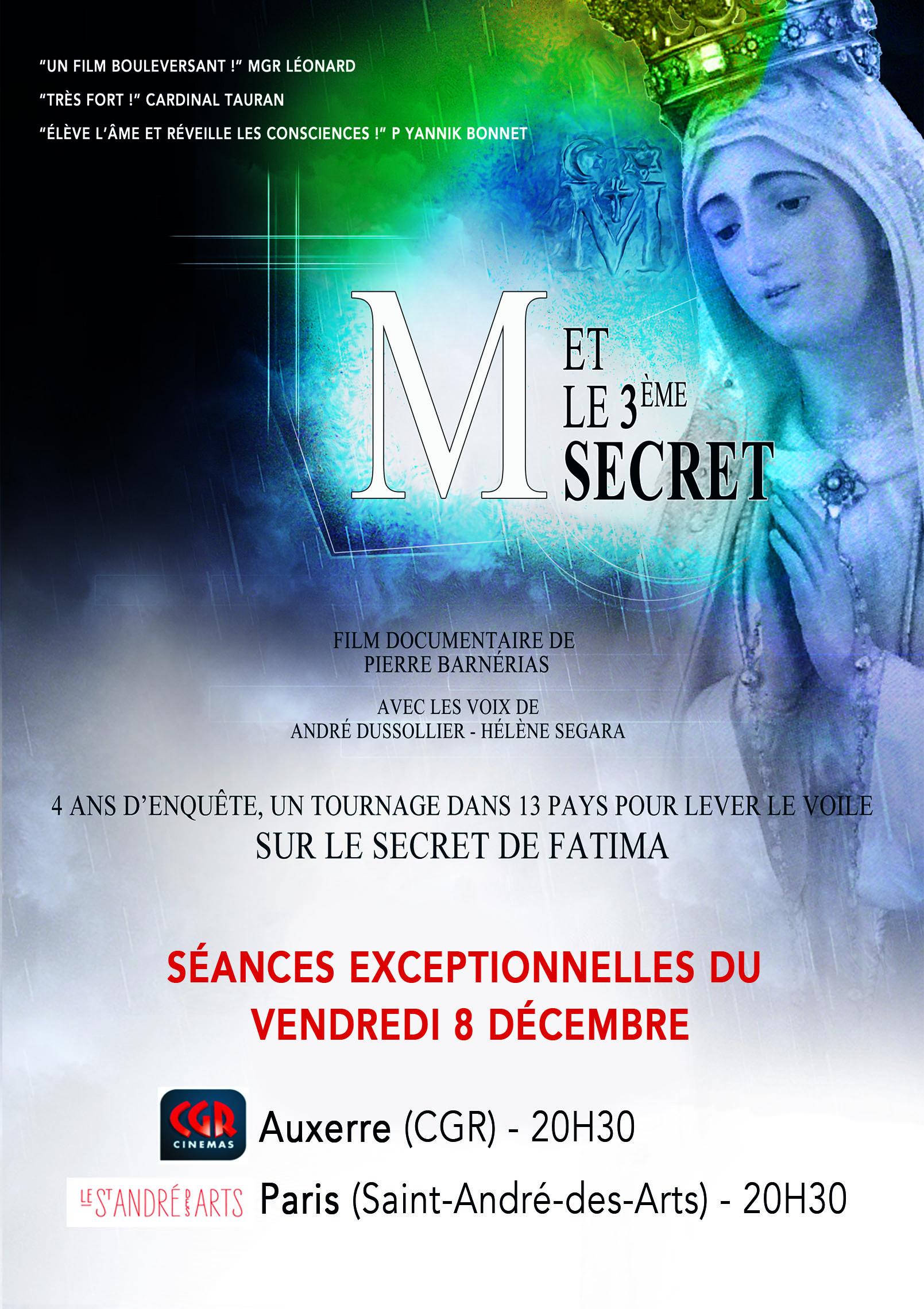 M et le 3ème secret – projection du film à Auxerre (89) le 8 décembre
