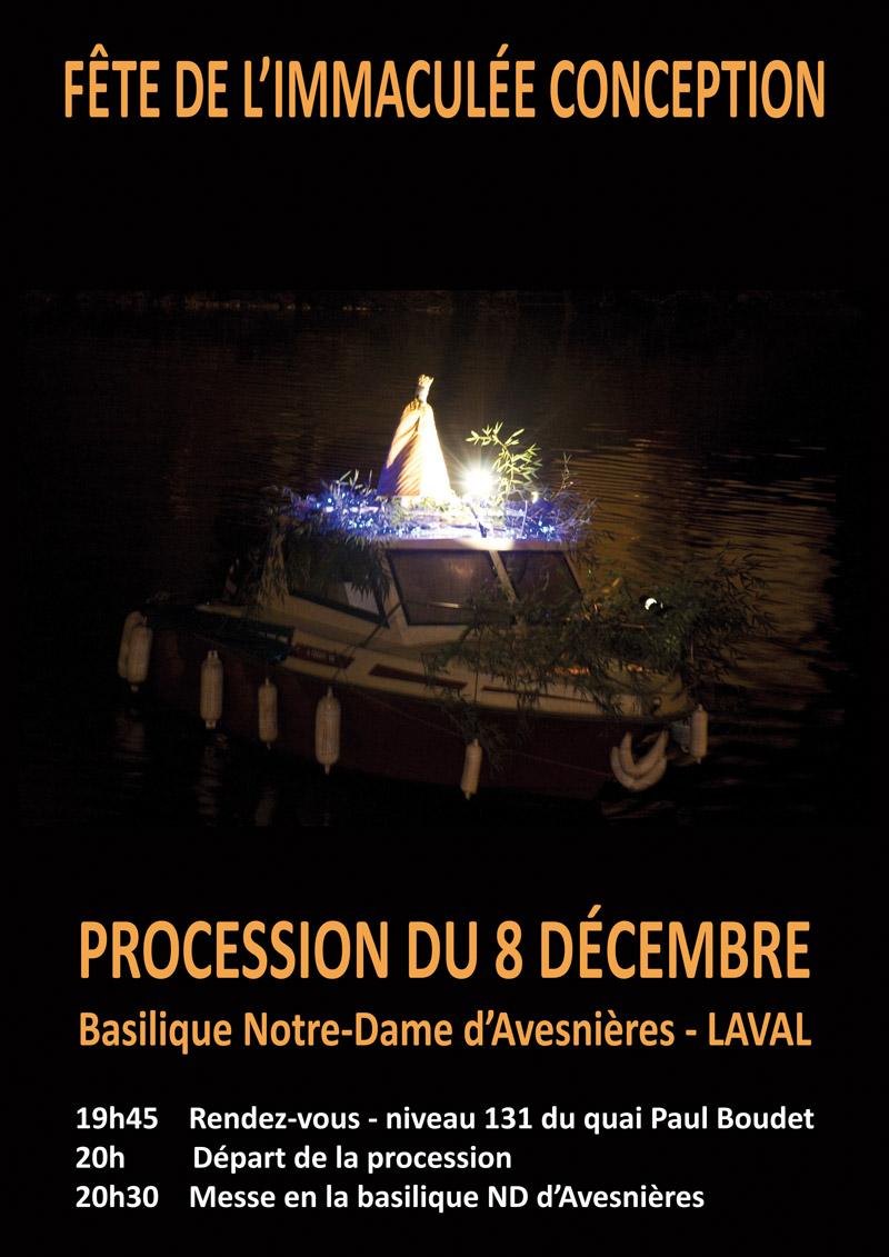 Procession pour l'Immaculée Conception à Laval (53) le 8 décembre