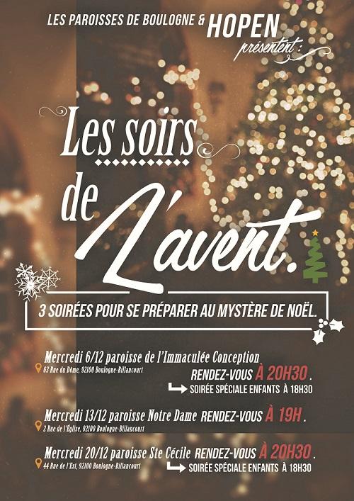 Les soirs de l'Avent, du 6 au 20 décembre à Boulogne-Billancourt (92) – avec HOPEN