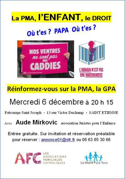 AFC – Conférence sur la PMA, l'enfant, le droit – le 6 décembre à Saint-Etienne (42)