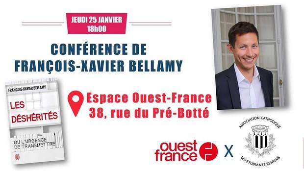 Conférence François-Xavier Bellamy «Les déshérités, ou l'urgence de transmettre» le 25 janvier 2018 à Rennes (35)