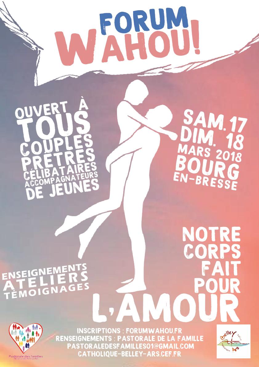 Notre corps fait pour l'amour! Forum Wahou! Les 17 et 18 mars à Bourg-en-Bresse (01)