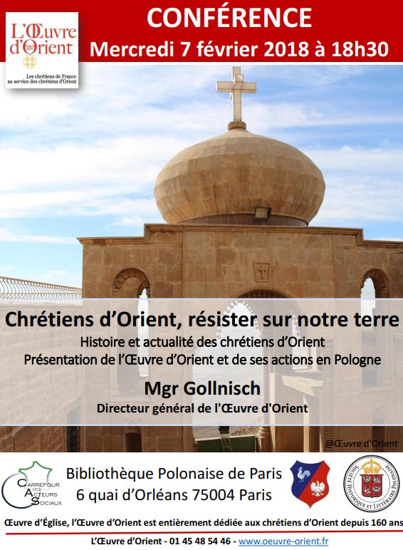 Chrétiens d'Orient, résister sur notre terre – Conférence de Mgr Gollnisch le 7 février 2018 à Paris