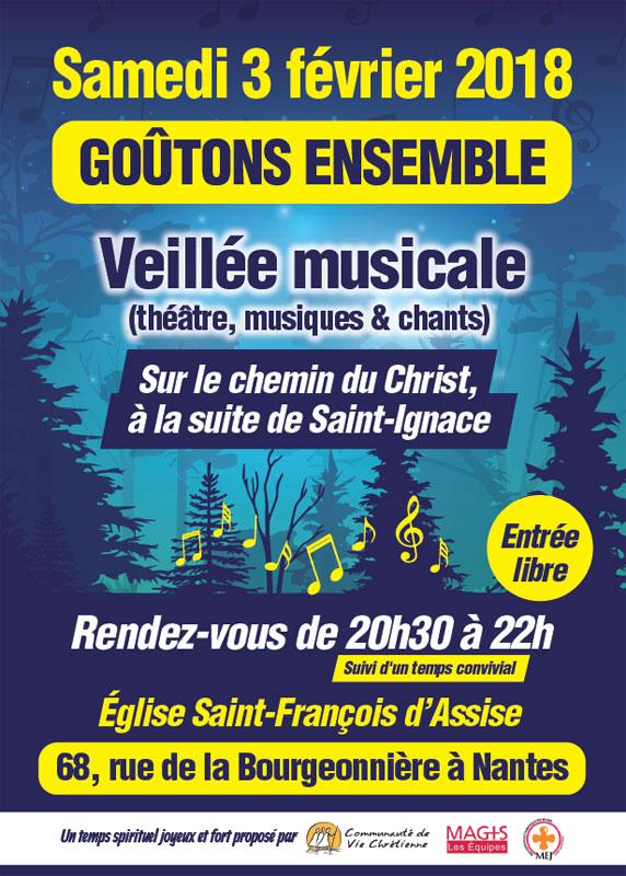 3 février 2018: Veillée musicale «Goutons ensemble» à l'église Saint-François-d'Assise à Nantes (44)