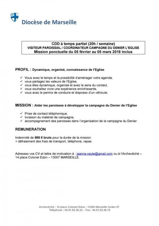Offre d'emploi en CDD temps partiel (20h/semaine) – diocèse de Marseille – 05/02-05/03