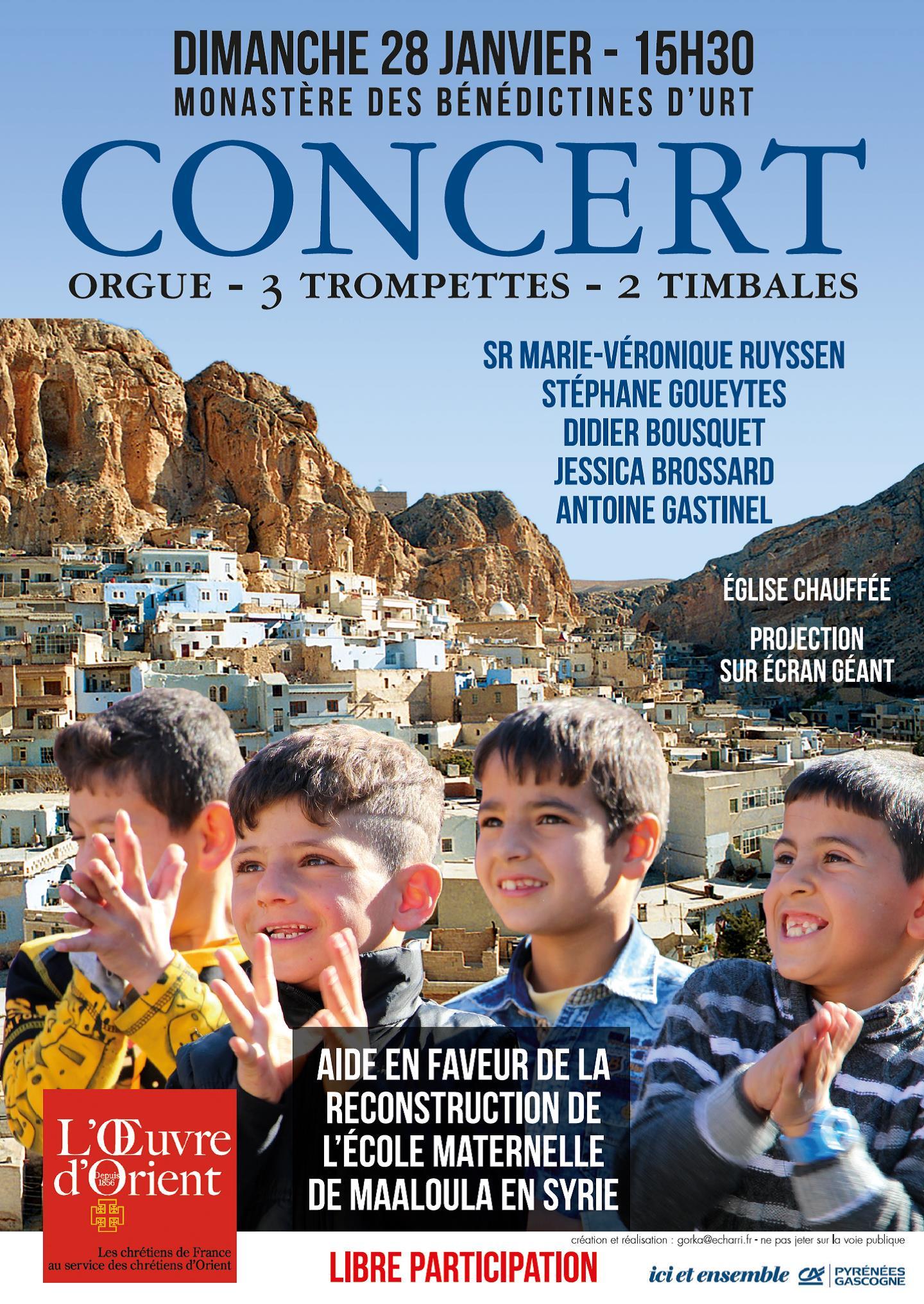 Concert au profit des chrétiens d'orient le 28 janvier au Monastère d'Urt-Belloc (64)