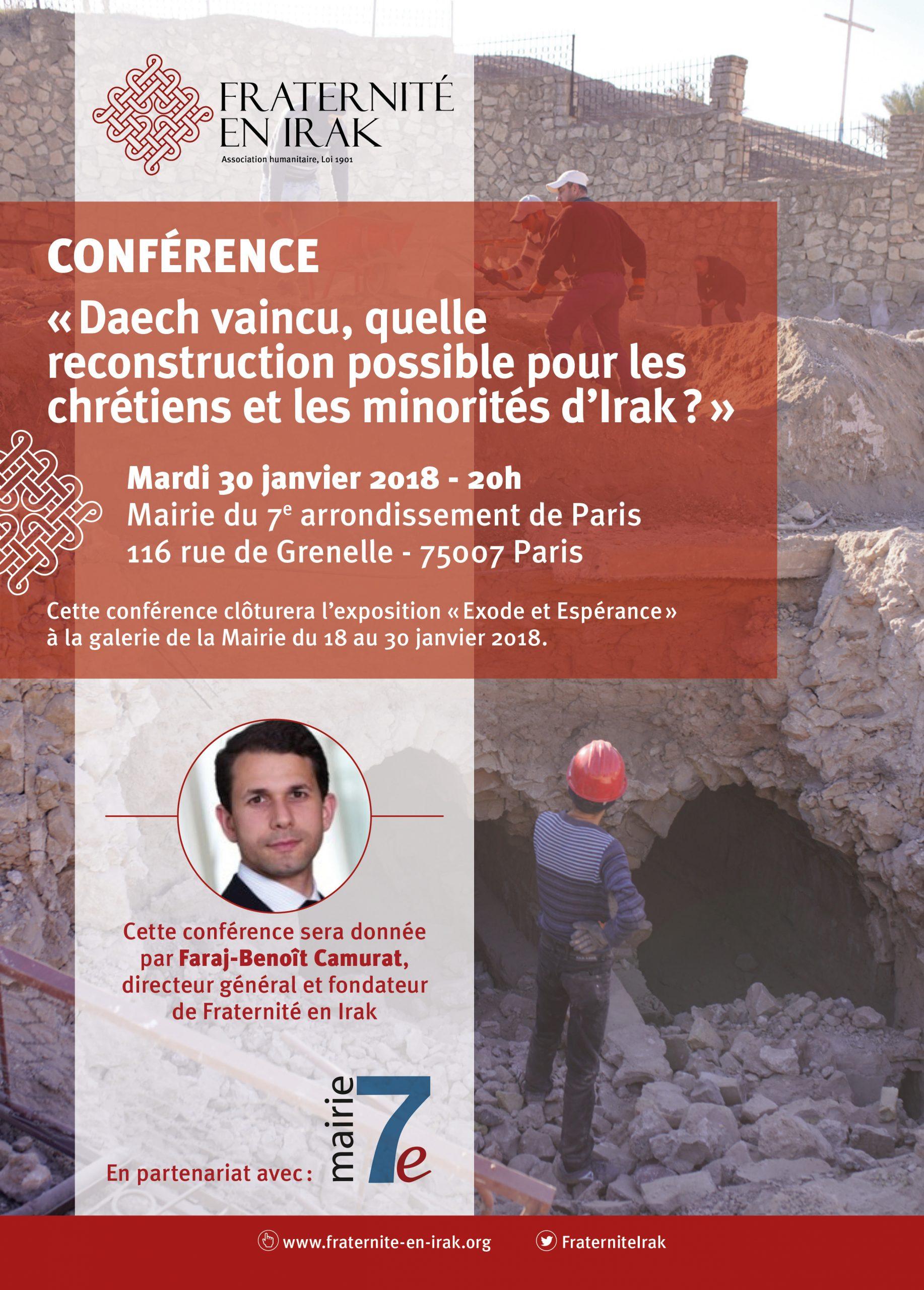Daech vaincu, quelle reconstruction possible pour les chrétiens et les minorités d'Irak? Conférence à Paris le 30 janvier 2018