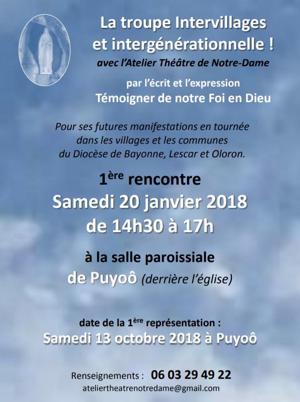 Lancement d'une troupe de théâtre intervillages à Puyoô (64) le 20 janvier 2018