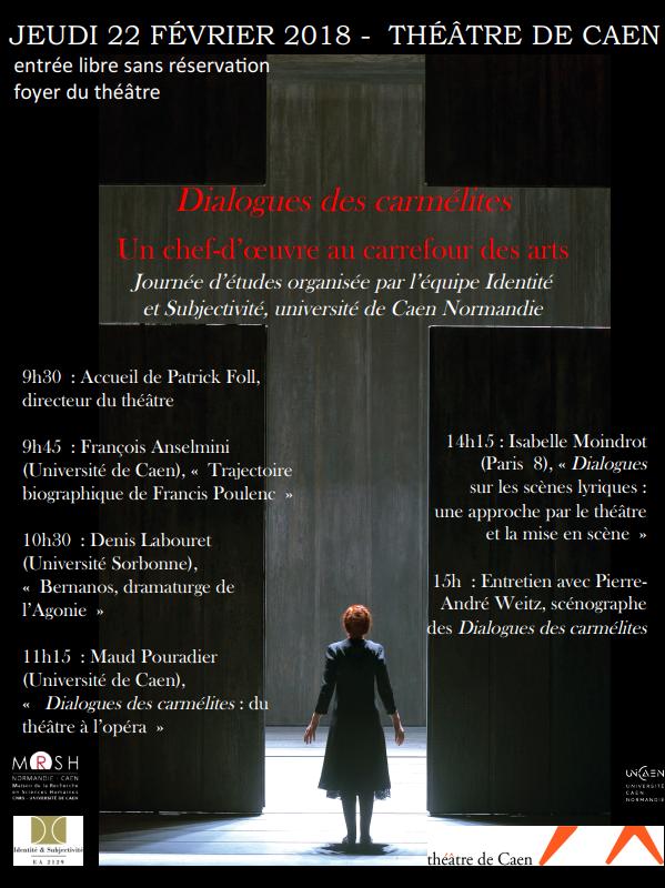 Dialogues des carmélites – journée d'étude au théâtre de Caen (14) le 22 février 2018