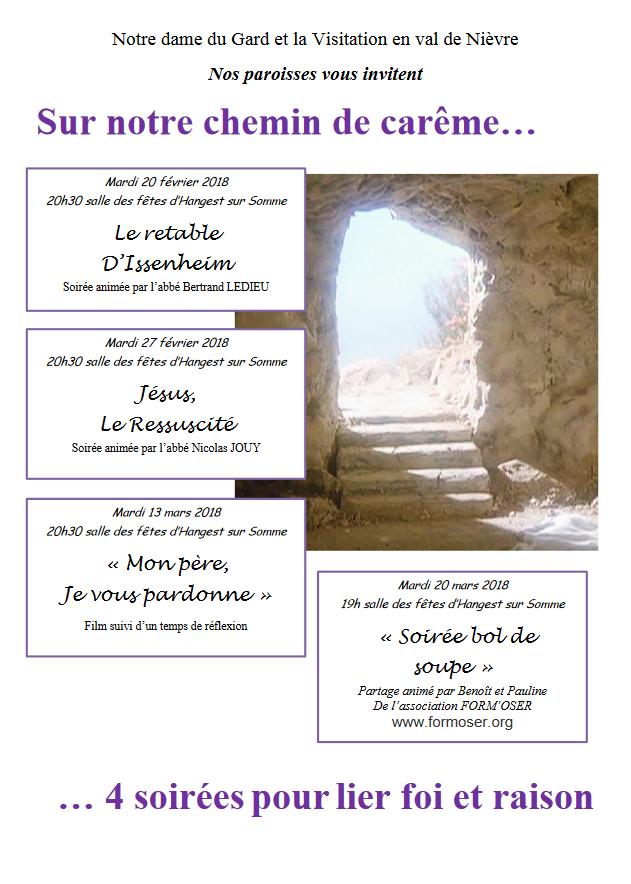 4 soirées pour lier foi et raison du 20 février au 20 mars 2018 à Hangest-sur-Somme (80)