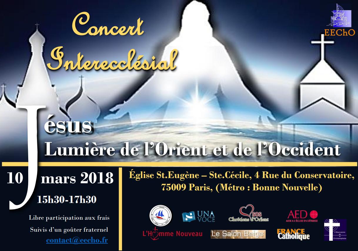 Concert Interecclésial – Jésus lumière de l'Orient et de l'Occident – le 10 mars à Paris