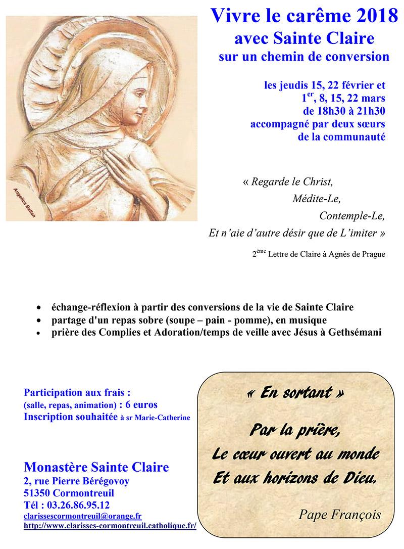Clarisses: vivre le Carême avec Sainte Claire chaque jeudi du 15 février au 22 mars 2018 à Cormontreuil (51)